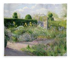 Irises In The Herb Garden Fleece Blanket