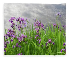 Irises On The Water Fleece Blanket