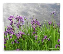 Irises On The Water Fleece Blanket