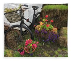 Irish Bike And Flowers Fleece Blanket