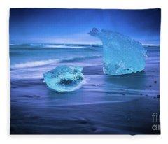 Irridescent Jokulsarlon Blue Ice Fleece Blanket