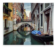 Gondola Parked On Lonely Water Canal In Venice, Italy Fleece Blanket
