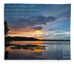Isaiah 41 13 And Sunset Fleece Blanket