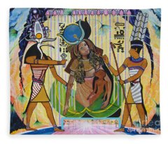 Blaa Kattproduksjoner     Presents Isis Giving Birth To Horus Fleece Blanket
