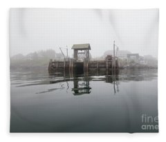 Island Boat Dock Fleece Blanket