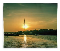 Island Harbor At Sunset Fleece Blanket