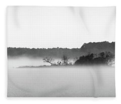Fleece Blanket featuring the photograph Island In The Fog by Todd Aaron