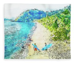 Island Surfers Fleece Blanket