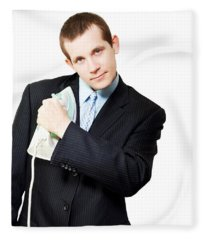 Isolated Business Person Ironing Suit Jacket Fleece Blanket