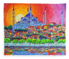 Istanbul Blue Mosque Sunset Modern Impressionist Palette Knife Oil Painting By Ana Maria Edulescu    Fleece Blanket
