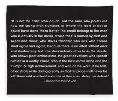 It Is Not The Critic Who Counts Fleece Blanket