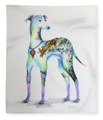 Italian Greyhound Tattoo Dog Fleece Blanket