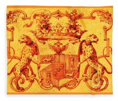 Italian Nobility 18th Century Coat Of Arms With Leopards And Double Headed Eagles Fleece Blanket