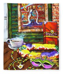 It's Mardi Gras Time Fleece Blanket