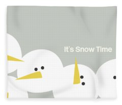 It's Snow Time Snow Heads- Art By Linda Woods Fleece Blanket