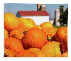 Jack-o-lantern Pumpkins At Farm Fleece Blanket