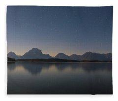 Jackson Lake Moon Fleece Blanket