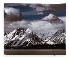 Jackson Lake Peaks Fleece Blanket