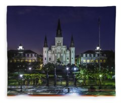Jackson Square And St. Louis Cathedral At Dawn, New Orleans, Louisiana Fleece Blanket