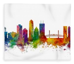 Jacksonville Florida Skyline Fleece Blanket