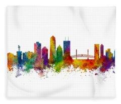 Jacksonville Florida Skyline Fleece Blanket