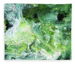 Jade- Abstract Art By Linda Woods Fleece Blanket