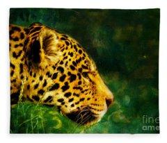 Jaguar In The Grass Fleece Blanket