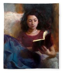 Jaidyn Reading A Book 1 - Portrait Of Young Woman - Girls Who Read - Books In Art Fleece Blanket