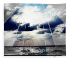 Jamaica Sunset Art Deco Bw With Color Fleece Blanket