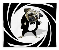 James Bond Pug Caricature Art Print Fleece Blanket