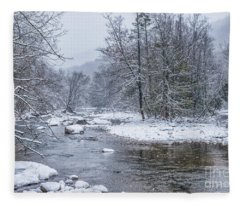 January Snow On The River Fleece Blanket