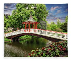 Japanese Bridge Garden Fleece Blanket