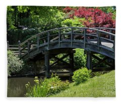 Japanese Garden Bridge Fleece Blanket