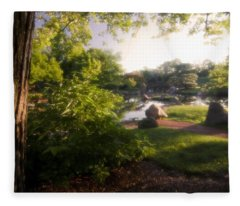 Japanese Garden In The Morning Fleece Blanket