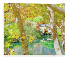 Japanese Garden Pond Fleece Blanket