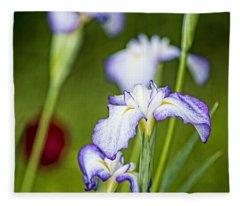 Japanese Iris Fleece Blanket