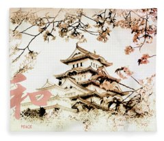 Japanese Peace House Fleece Blanket