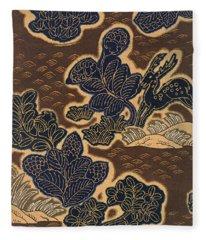 Japanese Style Deer Stag And Flowers Modern Interior Art Painting. Fleece Blanket
