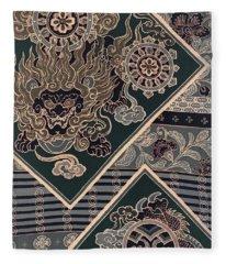 Japanese Style Lion And Dragon Modern Interior Art Painting. Fleece Blanket