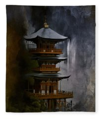 Japanese Temple. Fleece Blanket
