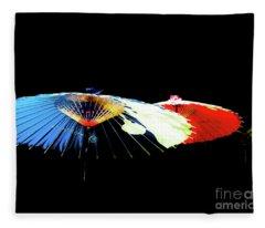Japanese Umbrellas Assorted Colors Fleece Blanket