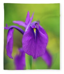 Japanese Water Iris Flower Fleece Blanket