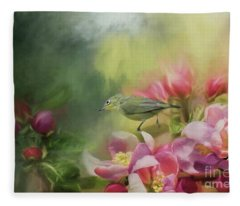 Japanese White-eye On A Blooming Tree Fleece Blanket