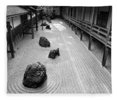 Japanese Zen Garden Fleece Blanket