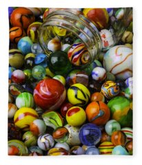 Jar Pouring Out Glass Marbles Fleece Blanket