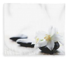 Jasmine Flower On Spa Stones Fleece Blanket
