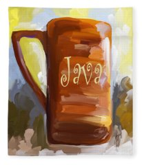 Java Coffee Cup Fleece Blanket