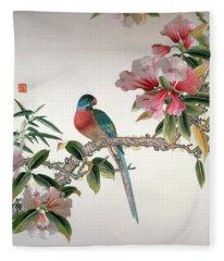 Jay On A Flowering Branch Fleece Blanket