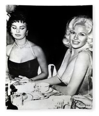 Jayne Mansfield Hollywood  Actress Sophia Loren 1957 Fleece Blanket