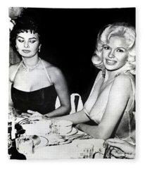 Jayne Mansfield Hollywood  Actress Sophia Loren 1957 Fleece Blanket